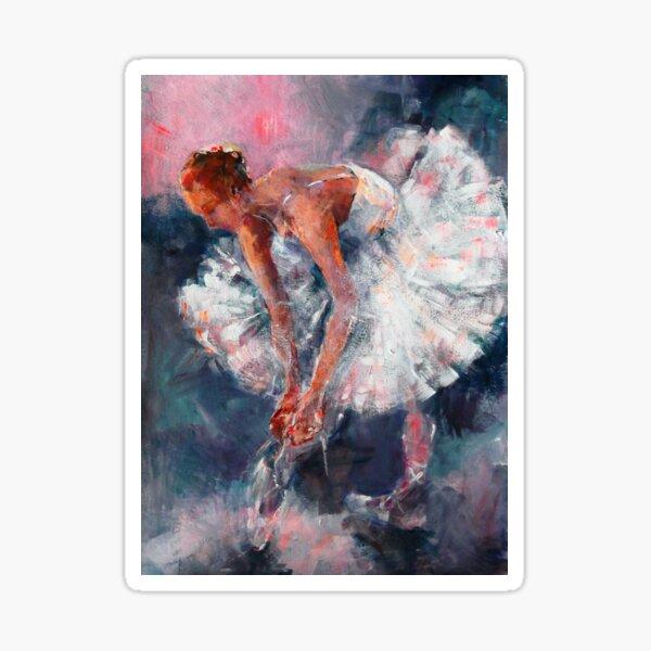 Ballet Dancer in White Dress Tying Shoe Ribbons Sticker