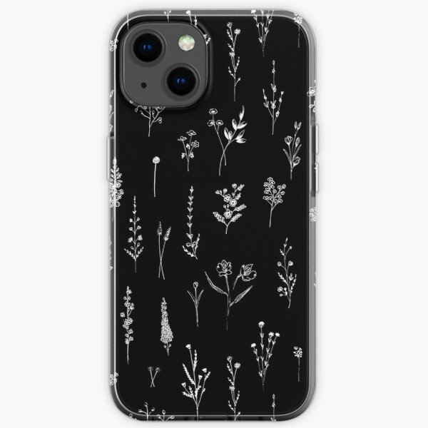 Black wildflowers iPhone Soft Case