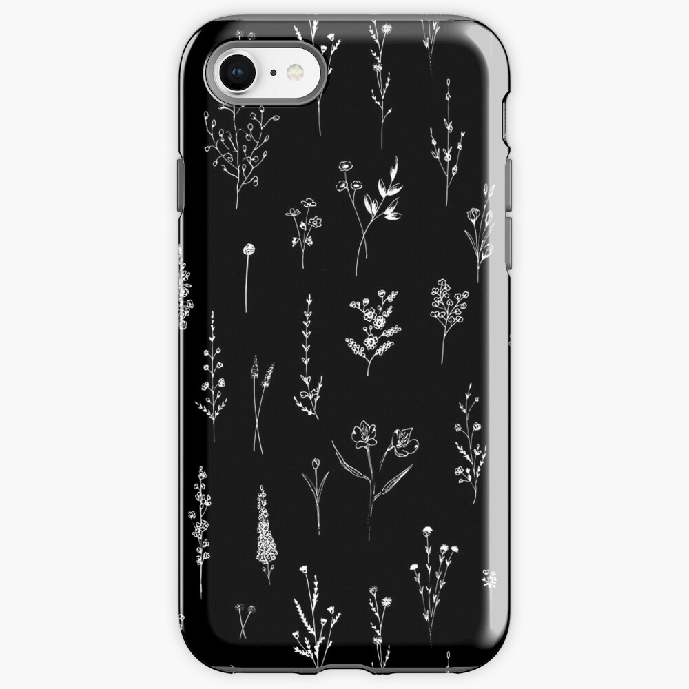 Black wildflowers iPhone Case & Cover