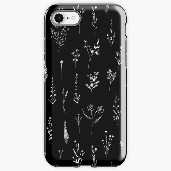 Black wildflowers iPhone Tough Case