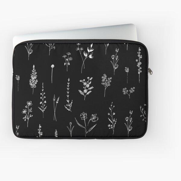Black wildflowers Funda para portátil