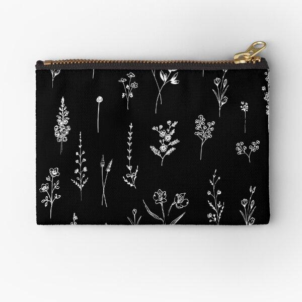 Black wildflowers Zipper Pouch