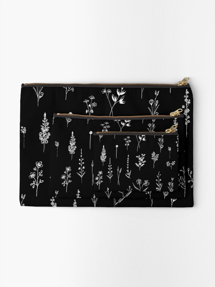 Alternate view of Black wildflowers Zipper Pouch