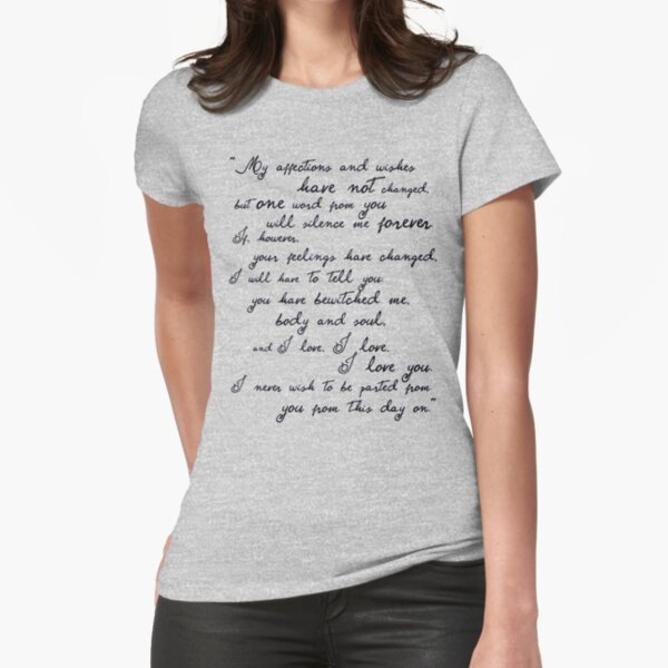 Pride and Prejudice, Darcy (black) Quote  Fitted T-Shirt