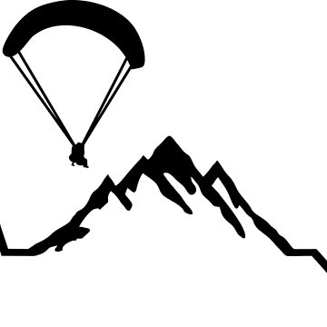 Paragliding, Mountains & ECG Heartbeat by claudiasartwork
