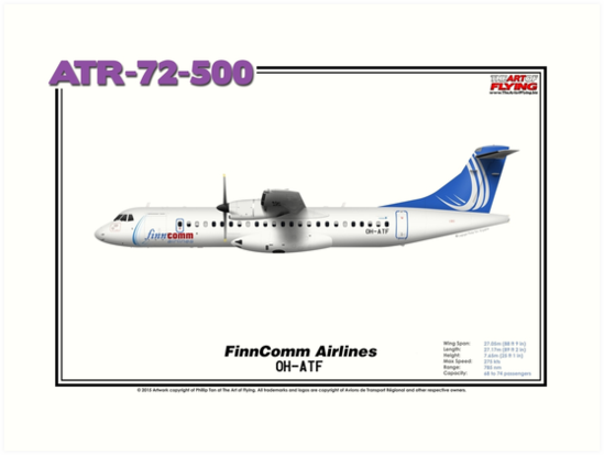 ATR 72-500 - FinnComm Airlines (Art Print) by TheArtofFlying