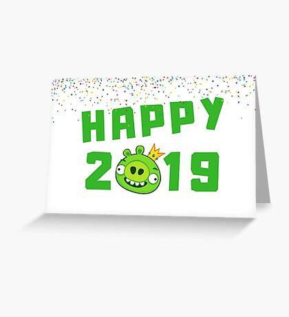Feliz 2019, Año Nuevo chino del cerdo, 2019, zodiaco, festival de linternas, año nuevo lunar, lindo cerdo verde, tarjeta de animales para mamá, hija, amiga, abuela Tarjeta de felicitación