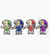 Four Swords A Link Between Worlds Wall Art Style Poster