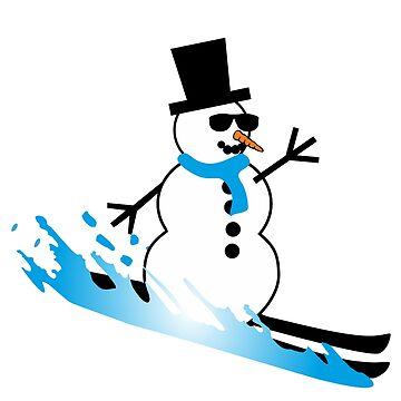 Skiing Snowman by claudiasartwork