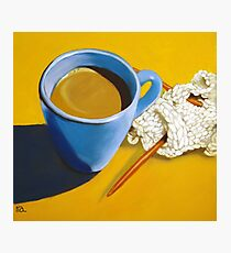 coffee and knitting Photographic Print