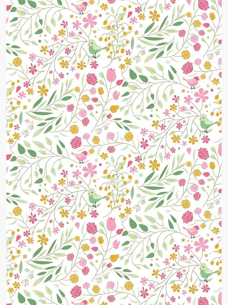 «Motif liberty Oiseaux & fleurs» par OGraphinerie