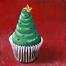 Christmas Tree Cupcake painting by ria hills