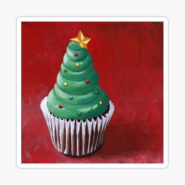 Christmas Tree Cupcake painting Sticker