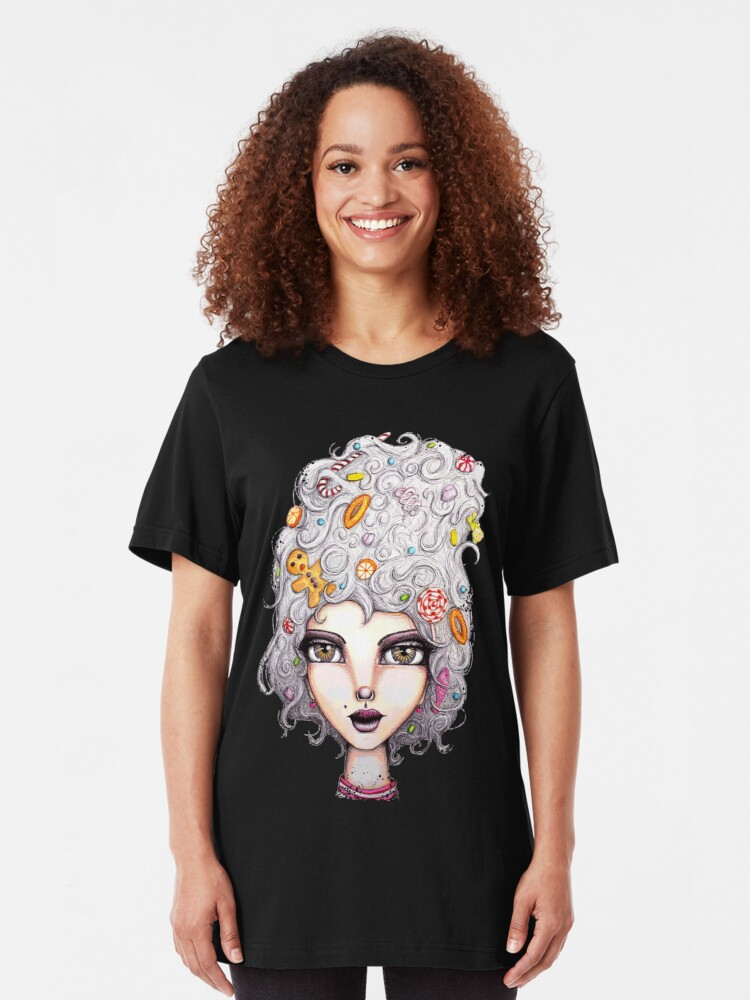 Alternate view of Gingerbread Witch Slim Fit T-Shirt
