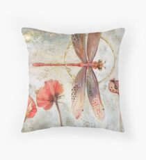 Red Jewel Damselfly Throw Pillow