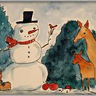 Snowman watercolor painting deer, rabbits, bird, apples by Edgot Emily Dimov-Gottshall