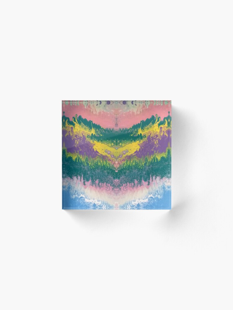 """Alternate view of Abstract Painting-""""South Beach Ocean Waves"""" Acrylic Block"""