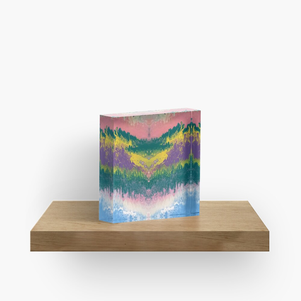"""Abstract Painting-""""South Beach Ocean Waves"""" Acrylic Block"""