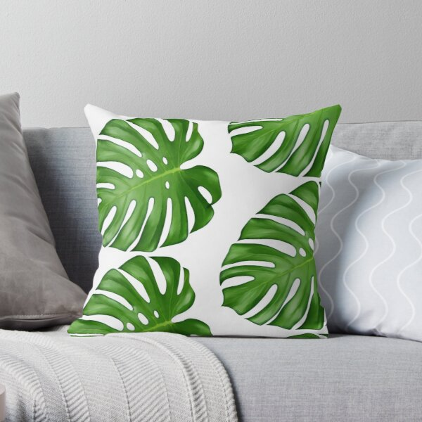Monstera Deliciosa Leaf Throw Pillow