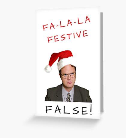 Dwight Schrute Christmas, The Office Us, Fa la la, Falso, Festivo, Regalos, Presenta, Juego de palabras, Banter, Alegre, Alegre, Feliz, Lindo, Felices fiestas Tarjeta de felicitación