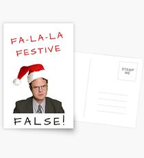 Dwight Schrute Christmas, The Office Us, Fa la la, False, Festive, Gifts, Presents, Pun, Banter, Cheerful, Jolly, Merry, Cute, Happy holidays Postcards