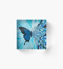 Explosión geométrica mariposa azul Bloque acrílico