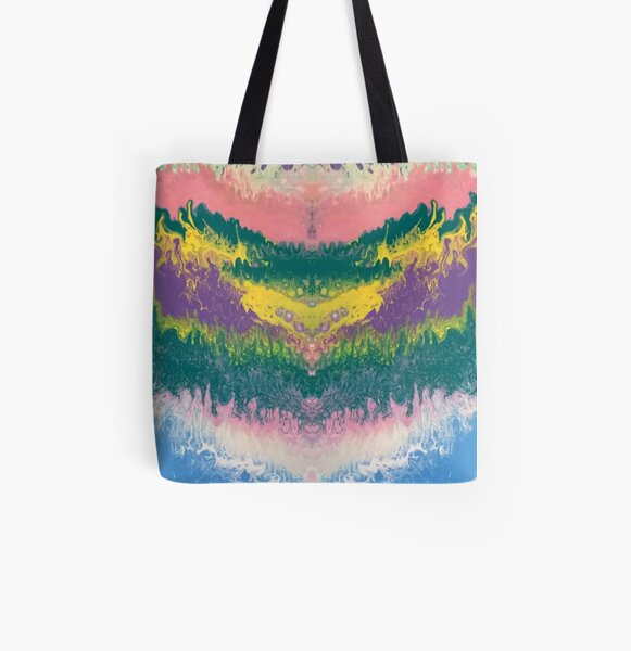 "Abstract Painting-""South Beach Ocean Waves"" All Over Print Tote Bag"