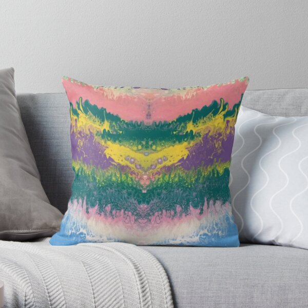 """Abstract Painting-""""South Beach Ocean Waves"""" Throw Pillow"""