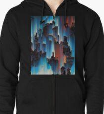 Cascade Coral Pixel Sort Zipped Hoodie