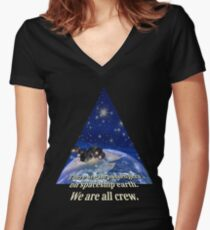 We are only crew on earth Shirt mit V-Ausschnitt