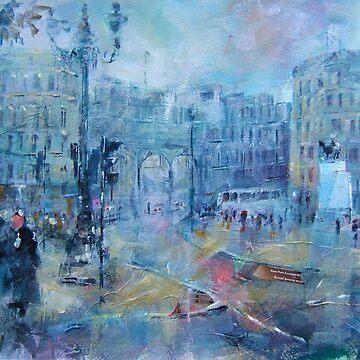 Trafalgar Square London on a Rainy Day by ballet-dance