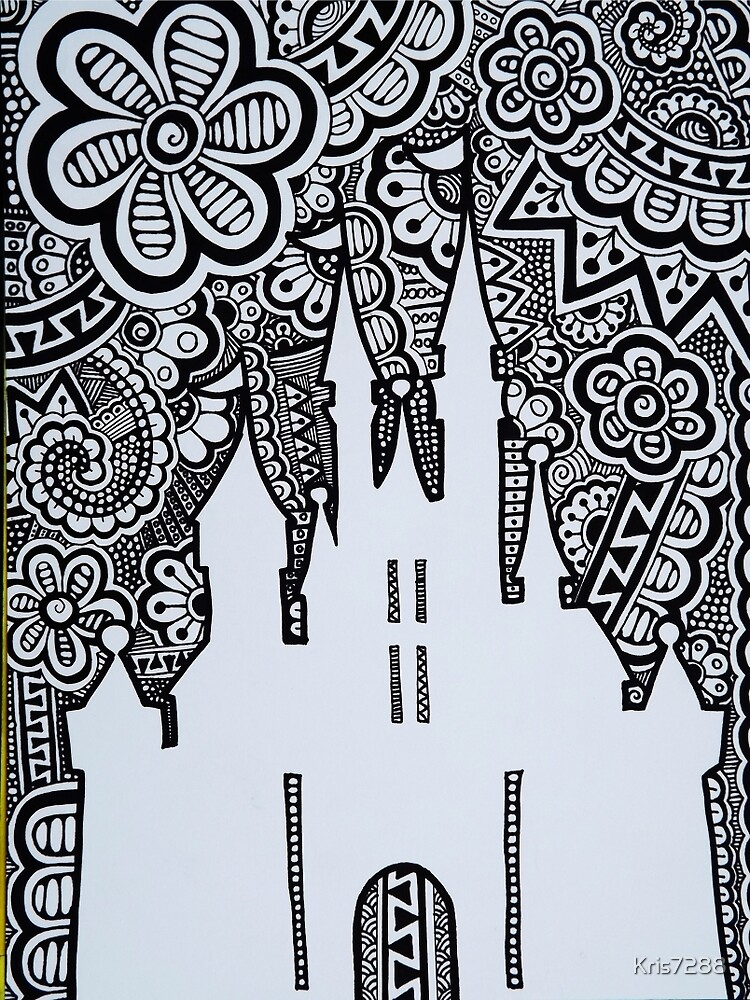 Quot Castle Silhouette Zentangle Quot By Kris7288 Redbubble