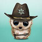 Cute Baby Hedgehog Sheriff by jeff bartels