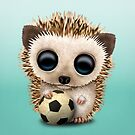 Cute Baby Hedgehog With Football Soccer Ball by jeff bartels