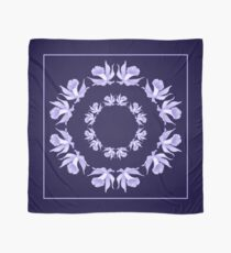 Light Purple Orchids Blue Square Chiffon Scarf, Pillow, Tote Scarf