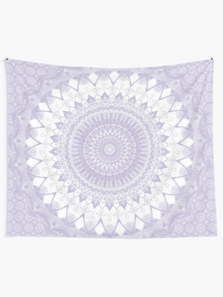 Alternate view of Boho Pastel Purple Mandala Tapestry