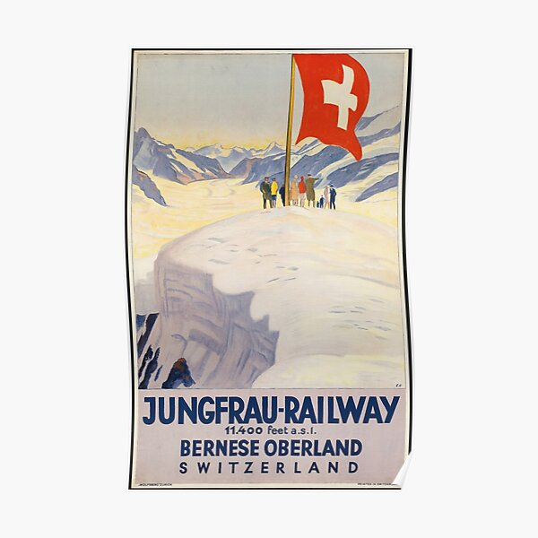 Vintage Train Jungfrau Railway Switzerland Europe Travel Advertisement Art Posters Poster
