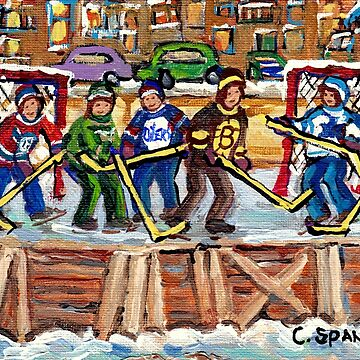 lOCAL NEIGHBORHOOD OUTDOOR HOCKEY RINK VERDUN MONTREAL NDG PLATEAU ROWHOUSES C SPANDAU HOCKEY ART by CaroleSpandau