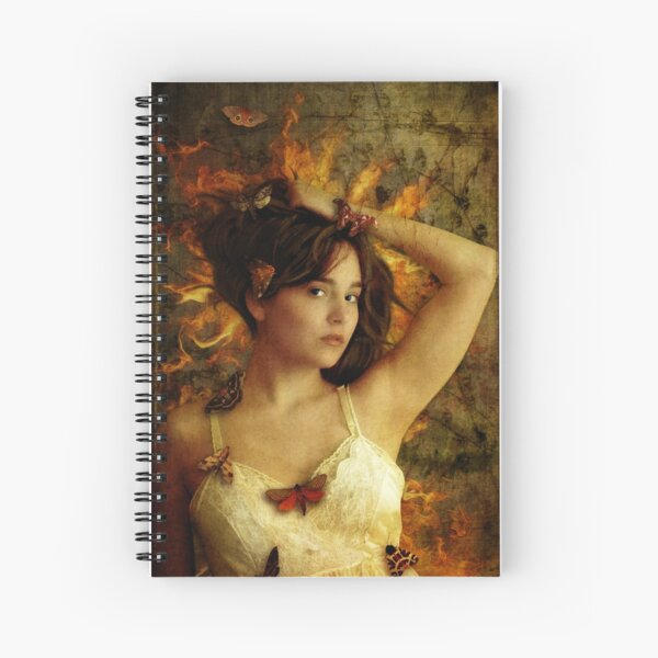 Girl with Moths Spiral Notebook