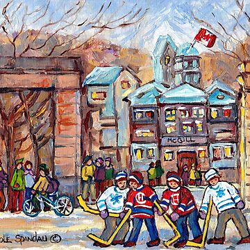 KIDS HOCKEY GAME AT THE GATES MCGILL UNIVERSITY RODDICK ENTRANCE SHERBROOKE STREET SCENE  by CaroleSpandau