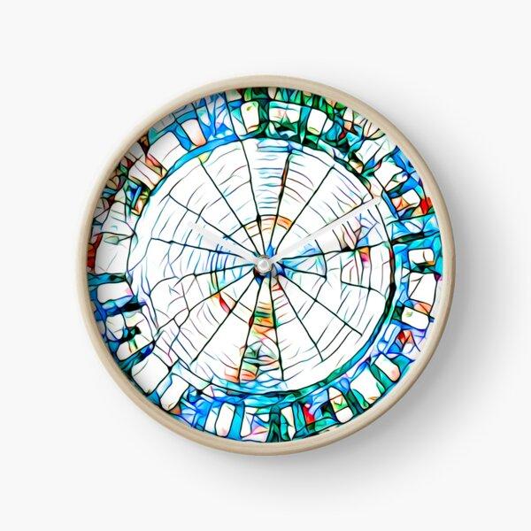 Glass stain mosaic 5 - circle web Clock