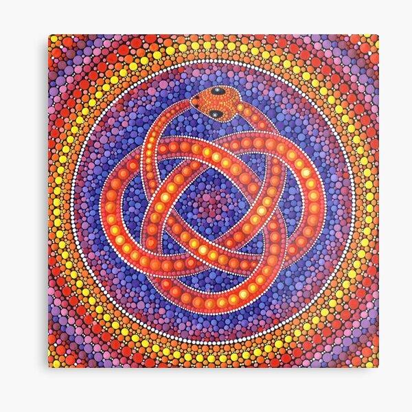 Red Ouroboros Celtic Snake Metal Print