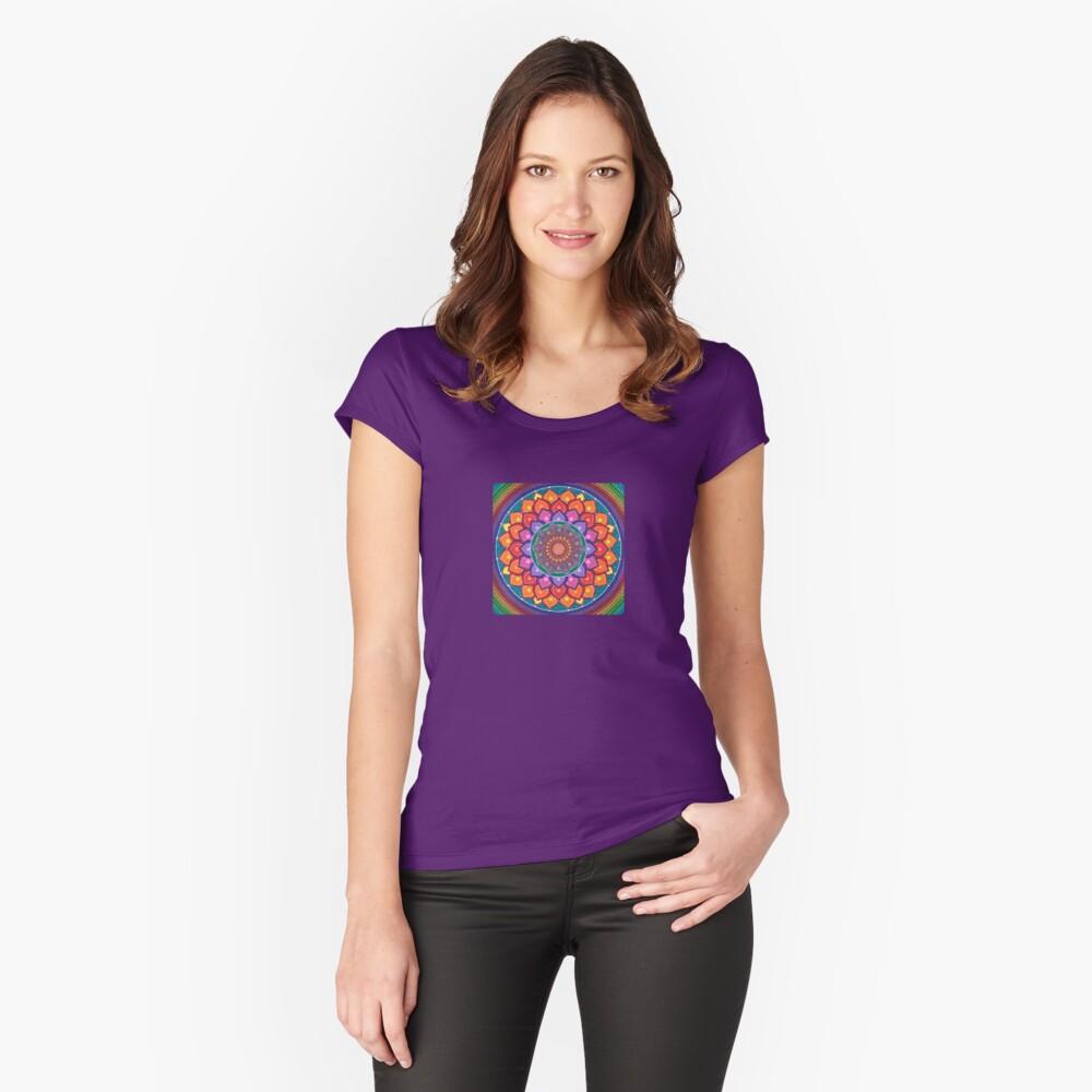Lotus Rainbow Mandala Fitted Scoop T-Shirt