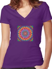 Lotus Rainbow Mandala Women's Fitted V-Neck T-Shirt
