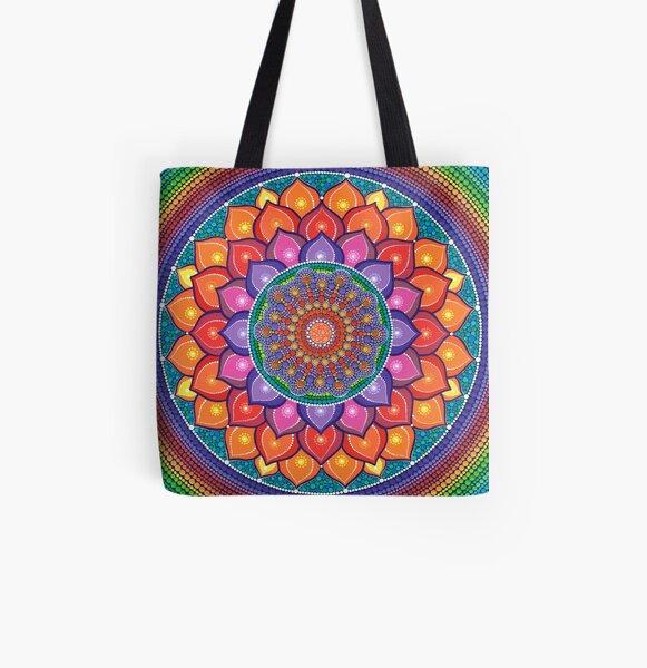 Lotus Rainbow Mandala All Over Print Tote Bag