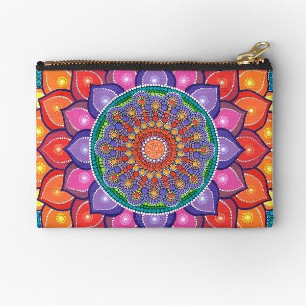 Lotus Rainbow Mandala Zipper Pouch