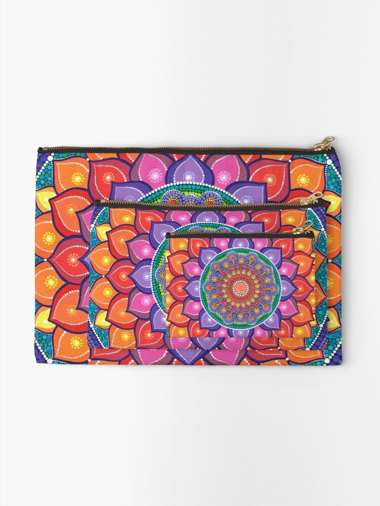 Alternate view of Lotus Rainbow Mandala Zipper Pouch