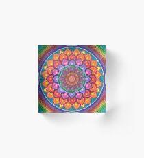 Lotus Rainbow Mandala Acrylic Block