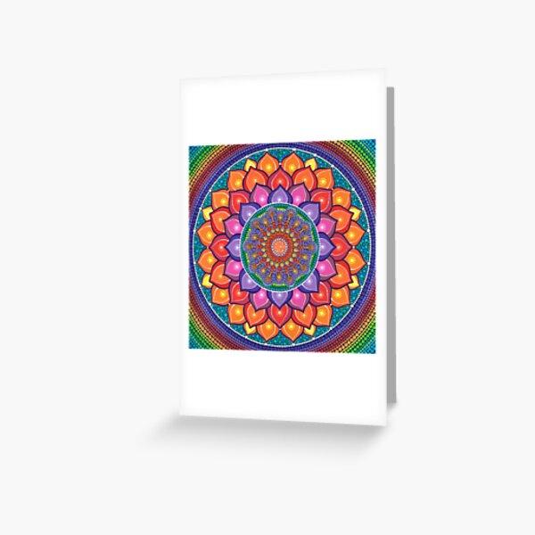 Lotus Rainbow Mandala Greeting Card