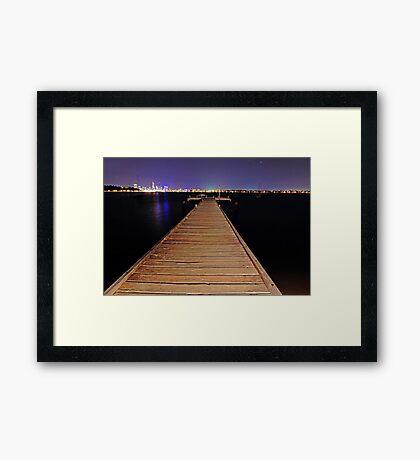 Pelican Point Jetty At Night  Framed Print